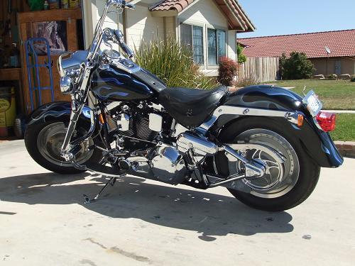 1999 Harley Davidson Flstf Fat Boy Black Blue Flames Photo