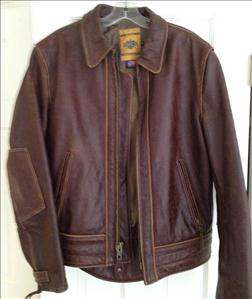 Photo of a Schott distressed brown leather jacket
