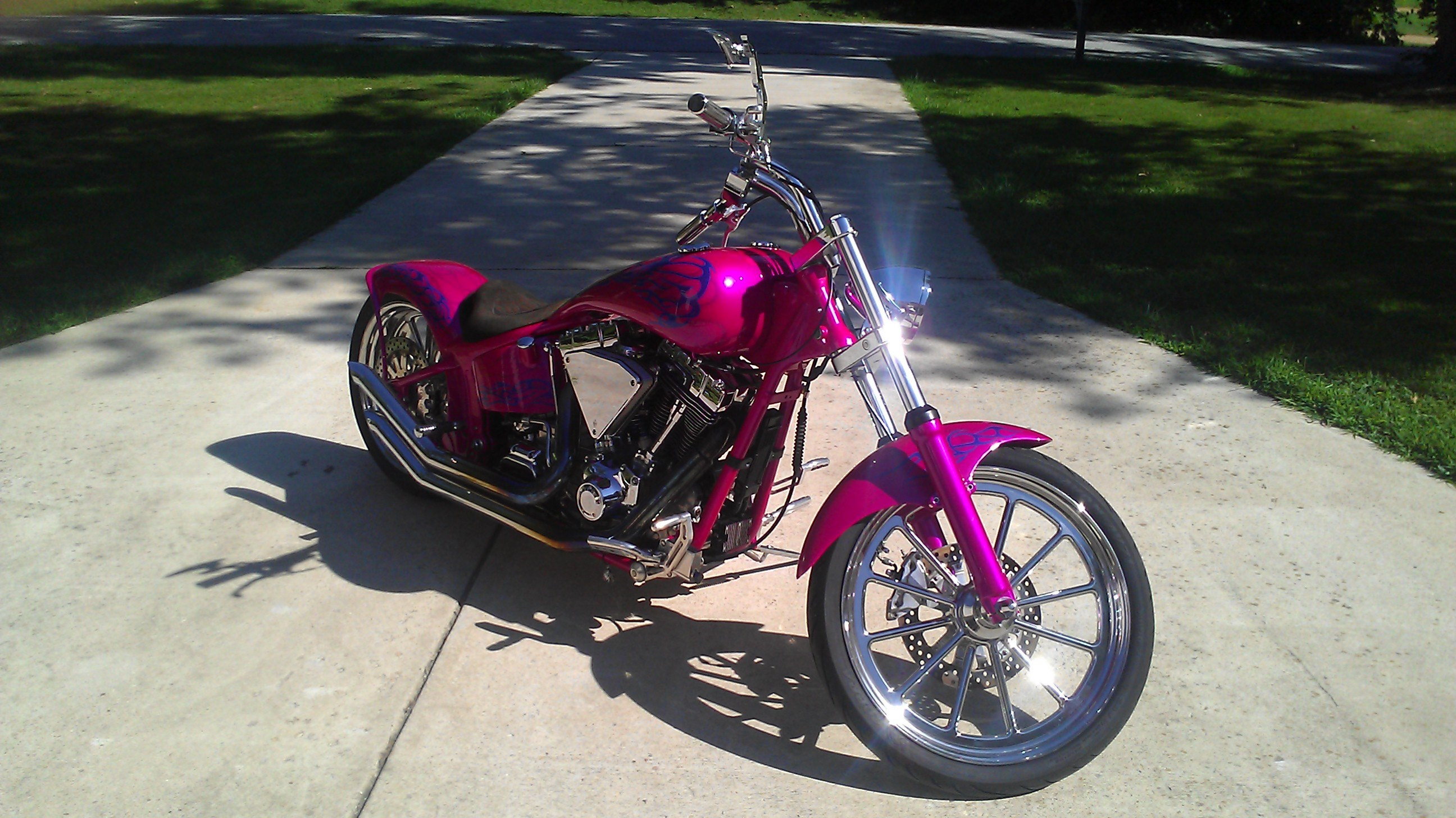 Pink Harley Davidson: 2000 Harley-Davidson® Custom (Hot Pink, Purple, And Blue