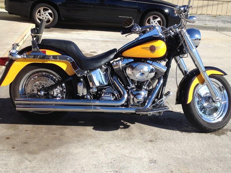 2000 Harley Davidson Flstf Softail Fat Boy Yellow Black Photo